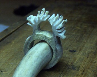 Tiny Antlers. Carved genuine Antler Ring. Size 6.5 Ready to ship ,OOAK