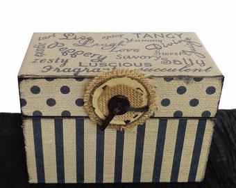 Recipe Box Personalized wooden Burlap & Black Live Laugh Love