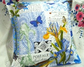 """FRENCH JOURNAL fabric - Michael Miller - 1 Custom Made Decorative Square Pillow Sham - 18"""" x 18"""""""