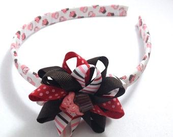 Red, Brown Cupcake Hair Bow Headband, Handmade Hair Bow, Wrapped Headband, Birthday Hair Bow, Handmade To Order, Birthday Cupcake Bow