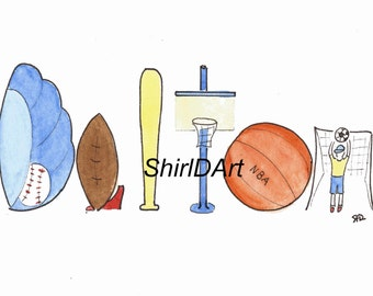 Original Watercolor Name Painting, Custom Name Art, Nursery Wall Decor, Children Room Decor, Sports, Playground, Fishing, Dalton, Noah, Sean