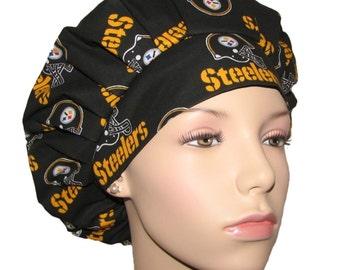Bouffant Scrub Hat-Pittsburgh Steelers Fabric-ScrubHeads-Scrub Cap-Scrub Hat For Women-Steelers Scrub Hat-Pittsburgh Scrub Hat