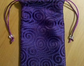 Lined Purple Brocade Scrolls Tarot Bag  4in x 6in
