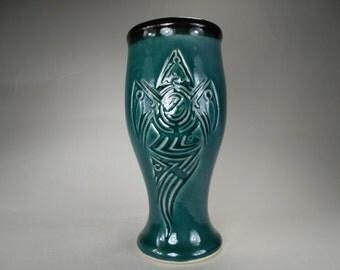 Tribal Crow Design Pilsner Beer Cup 24 oz., Carved Design Dinnerware Tumbler Home Bar Accessory, Mediterranean Blue, Handcrafted Stoneware