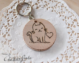 Wooden Charms, wine charm,  cat, keychain