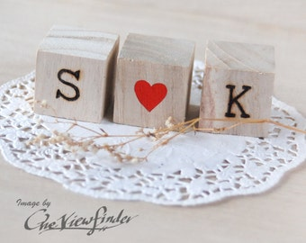 Personalized Love Wedding Cake Topper with wood burned texts . Text Wood Blocks . rustic wedding favors decor .