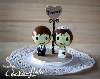 Customise Wedding Cake Topper with Heart Message - zombie. monster, creature, halloween