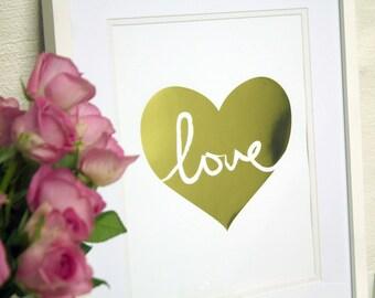 Gold Love – white print