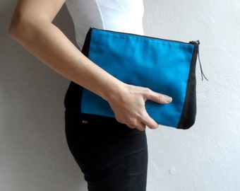 Blue Black Colorblock Clutch