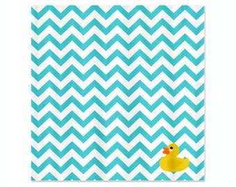Chevron Blue Ducky Childs Shower Curtain - Perfect for Boys and Girls, Kids Bathroom Shower Curtain