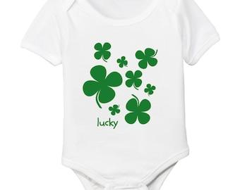Lucky Four Leaf Clover Organic Cotton Bodysuit