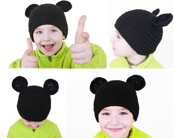 Mickey Mouse Ears Beanie - Crochet Mickey Mouse Hat Pattern - Mommy and Me Matching Beanie - Crochet Hat Pattern - Child's Hat - Women's Hat