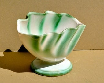 Vintage Regal Pottery Planter #303 Hull Pottery Planter Green and White Art Pottery Vase