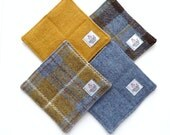 Harris Tweed quilted drinks coasters in blue and mustard plaid, padded