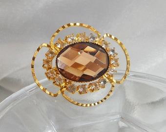 Vintage Rhinestone Brooch. Brown Glass Faceted Stone. Clear Rhinestones.
