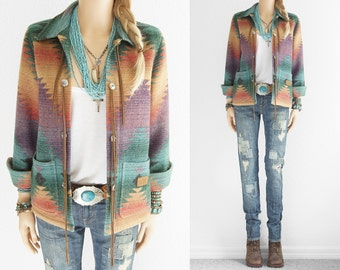 Ralph Lauren Indian Blanket Jacket Leather Fringe Indian Blanket Coat Native American Turquoise RL Vintage Southwestern Cowgirl Jacket xs s