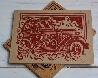 White Lightning - Block Print