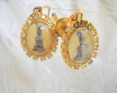 Vintage Paperweight Glass and Rhinestone Statue of Liberty Earrings
