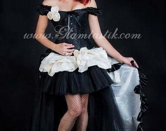 Clearance Size Small Black and Ivory HIgh Low burlesque corset prom wedding dress Ready to Ship