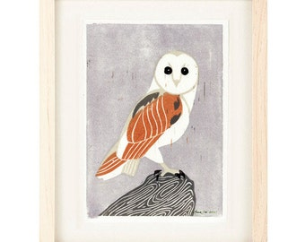 BARN OWL Poster Size Linocut Reproduction Art Print: 8 x 10, 9 x 12,  11 x 14, 12 x 16