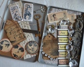ASSEMBLAGE COLLAGE LoT B Altered Art Mixed Media Destash steampunk keys tags Metal Findings w/ Vintage Altered Tin