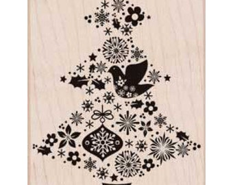 SALE Christmas Tree Rubber Stamp • Fancy Tree Rubber Stamp • Merry Christmas • Holidays • Season's Greetings • Snowflakes Stamp (K5966)