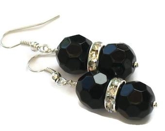 Black Crystal Rhinestone Earrings, Gifts for Women Under 20, Wedding Jewelry, Bridesmaids, Birthday, Christmas, Black Friday, Cyber Monday