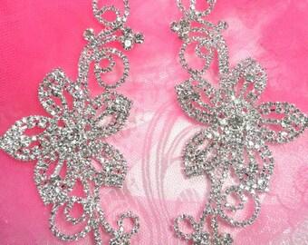 "N18 Mirror Pair Flower Crystal Rhinestone Appliques Metal Back Floral Embellishments Set 5"" (N18-slcr)"
