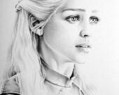 Emilia Clarke as Daenerys Targaryen Fine Art Pencil Drawing Portrait Signed Print