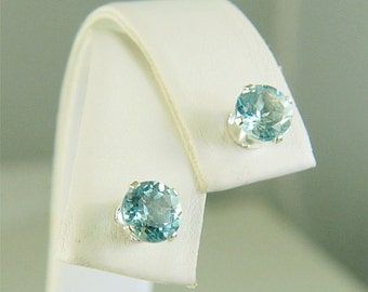 Sky Blue Topaz Studs Sterling Silver Earrings 6mm Round 2ctw