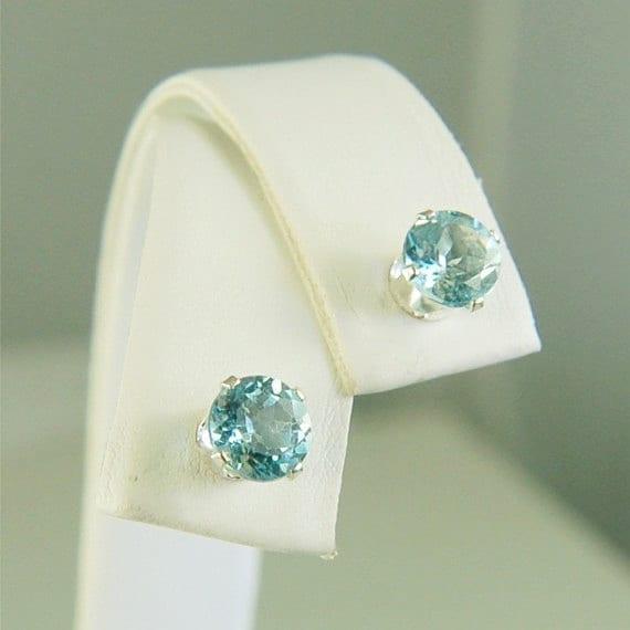 Sky Blue Topaz Studs Sterling Silver Earrings 6mm Round 2ctw