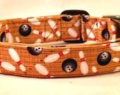 Super Retro Bowling Balls and Pins on a Brown Wood Bowling Lane Dog Collar