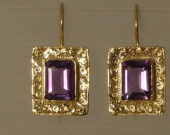 Vintage style Amethyst filigree Earrings