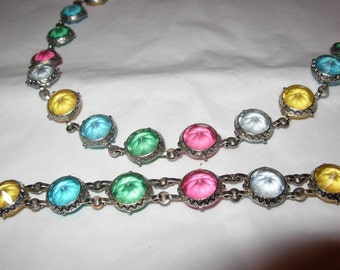 Vintage Toy Necklace Bracelet Set for Little Girl or Toddler, Multi-Colored, Child, Jewelry