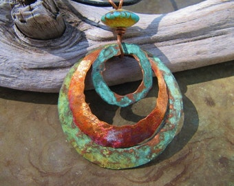 Tidepool Blue Copper Jewelry Copper Pendant Patina Copper Medallion Lampwork Bead