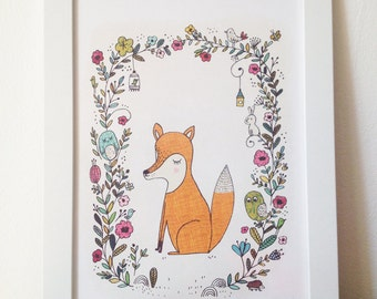 "Poster, Art print for kids room Mr Fox,  ideal nursery - size A4 = 8,27 x 11,7"""