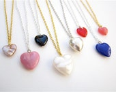 Bridesmaid Heart Necklace Valentine's Day Necklace - Choose Color - Coral, Pink, Red, White, Black, Silver, Shell, Blue, Silver or Gold
