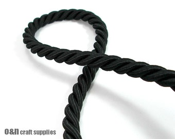 Twisted silk cord, 9mm, black satin cord, 1 meter