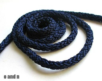 Acetino braided silk cord, 6mm, midnight blue, 2 meters