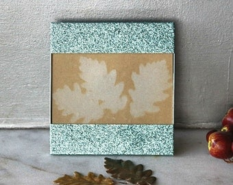 Metal Picture Frame, Mint Green Glittered, Child Room Decor, Table Top, Upcycled, Handmade Christmas Gift