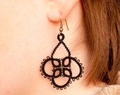 Black Tatted Lace Earrings. Victorian Inspired Steampunk Dangle Ear Rings.