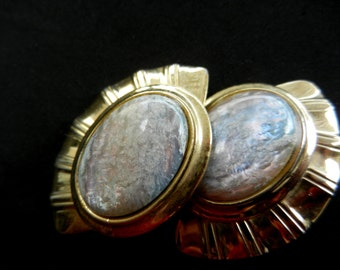 1970s Italian original large earrings - Specular design and great quality cabochons- simulated Opal and gold--Art.224/3 -