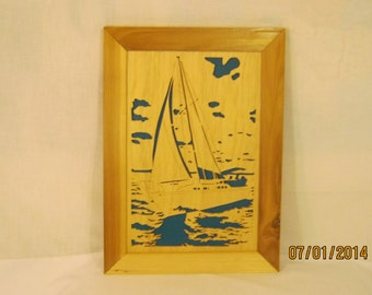 SAILBOAT FRAMED Scroll Saw Art Work