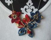 Eyelet Five Point Flowers American Flag Necklace July 4th of July Patriotic