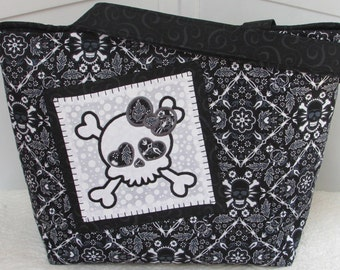 Black Badanna Skull Large Tote Bag Girly Skull Embroidery Large Purse Ready To Ship