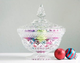 Candy Dish, Wexford Glass by Anchor Hocking, Diamond Pattern, Pressed Glass, Classic American Mid Century Modern