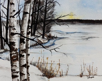 Original Watercolor Painting- Birch Tree Painting
