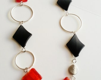 Red Black and Silver Mix Beaded Necklace - Elizabeth