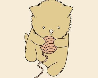 Little Kitten with Yarn