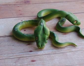 Green Tree Python Plug Spirals with Swarovski Crystal Eyes